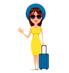young woman go travel standing with suitcase and vector image vector image