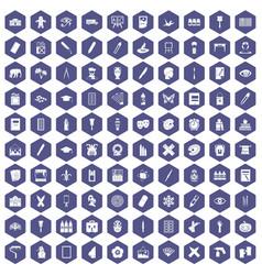 100 paint school icons hexagon purple vector