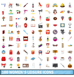 100 women leisure icons set cartoon style vector
