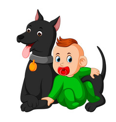 A baby playing with big dog vector
