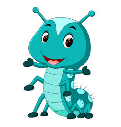 A blue caterpillar cartoon vector