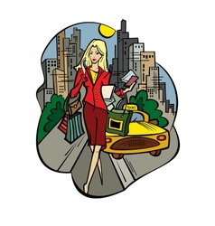 A business-lady in the city with purchases vector