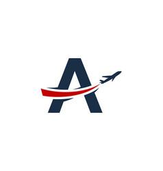 A letter travel logo icon design vector
