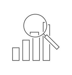 analysis outline icon graph magnifying icon vector image