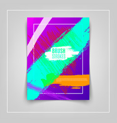 Artistic colorful brushstrokes cover design eps10 vector