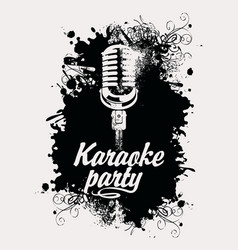 Banner for karaoke party with mic and inscription vector