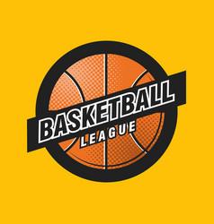 basketball league logo with ball sport badge vector image