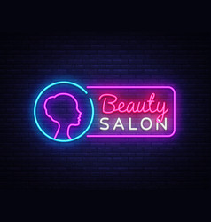 beauty salon neon sign beauty salon design vector image