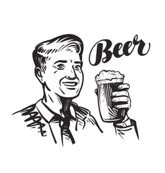 Beer bar or Pub Happy smiling man with mug of vector image
