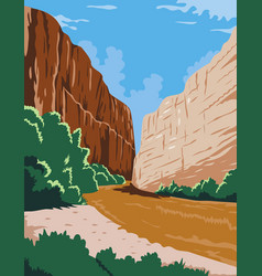 Big bend national park rio grande ro bravo in vector