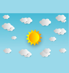 blue sky with clouds and sun paper art style vector image