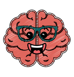 Brain storm kawaii character vector