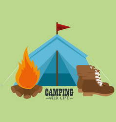 Camping wild life with tent vector