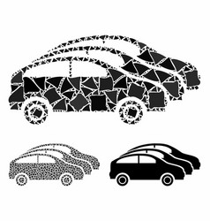 Car traffic mosaic icon uneven elements vector