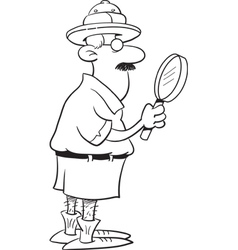 Cartoon Explorer Holding a Magnifying Glass vector image