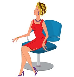 Cartoon woman in red dress and hair rollers vector image