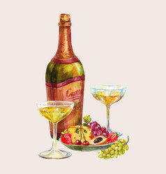champagne or white wine in bottle and glasses vector image