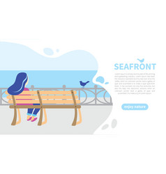 Character girl on wooden bench seafront banner vector