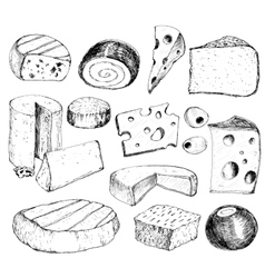 Cheese Hand drawn collection vector image