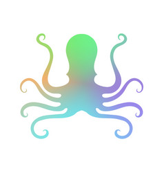 colorful octopus icon stilized logo design sea vector image