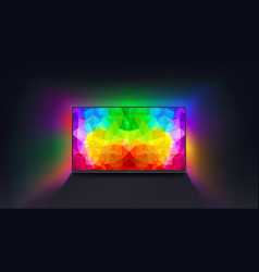 Colorful screen tv on dark vector
