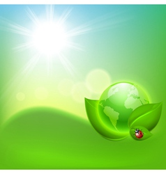 Concept ecological background with the globe vector