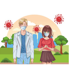 Couple with face masks and covid19 particles on vector