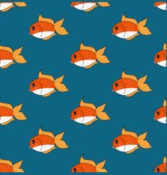 Cute goldfish on indigo blue background vector