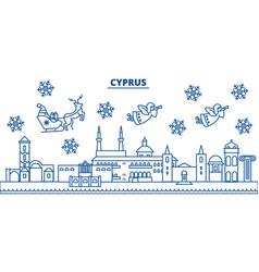 Cyprus winter city skyline merry christmas happy vector