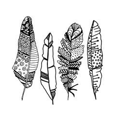 Decorative line art doodle style tribal feathers vector image
