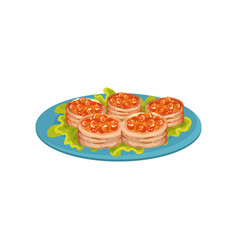 Delicious snacks with red caviar on blue plate vector