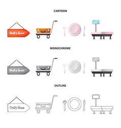 Design of airport and airplane sign set of vector