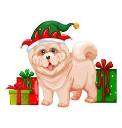 Dog wearing elf hat vector image