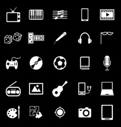 Entertainment icons on black background vector image