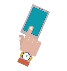Finger touching a smartphone screen vector