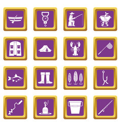 fishing tools icons set purple vector image