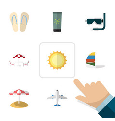 flat icon beach set of moisturizer sunshine vector image
