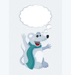 flat rat with thought cloud vector image