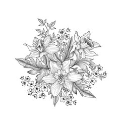 floral background flowers and leaves engraving vector image