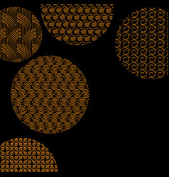 Golden circles with different patterns on black vector