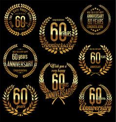 Golden laurel wreath anniversary collection 60 vector