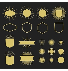 Golden silhouette design elements set vector