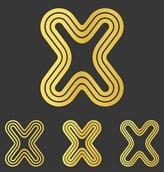 Golden x letter logo design set vector image