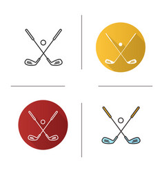 Golf ball and clubs icon vector