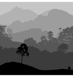 gray landscape scenery with hills and forest eps10 vector image vector image