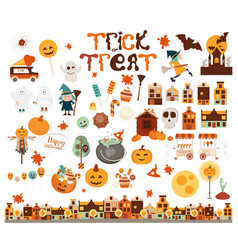 halloween characters and elements vector image
