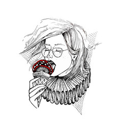 hand drawn girl in glasses eat mushroom in view of vector image