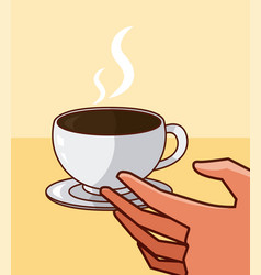 Hand grabbing coffee cup vector