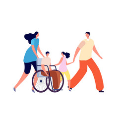 Handicapped kids in family disability activity vector