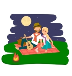 Happy family picnic resting Young couple outdoors vector image